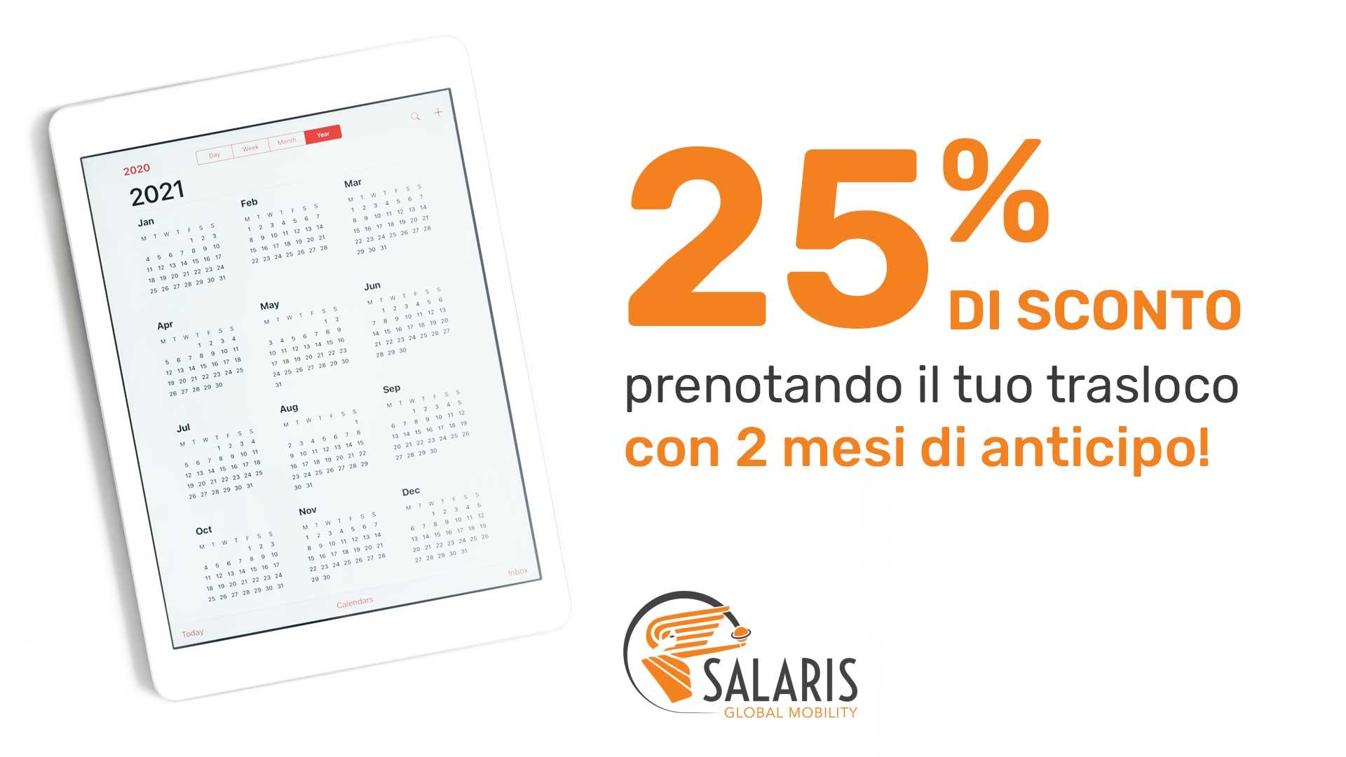 Immagine un calendario che descrive il servizio di trasloco della Salaris Global Mobility